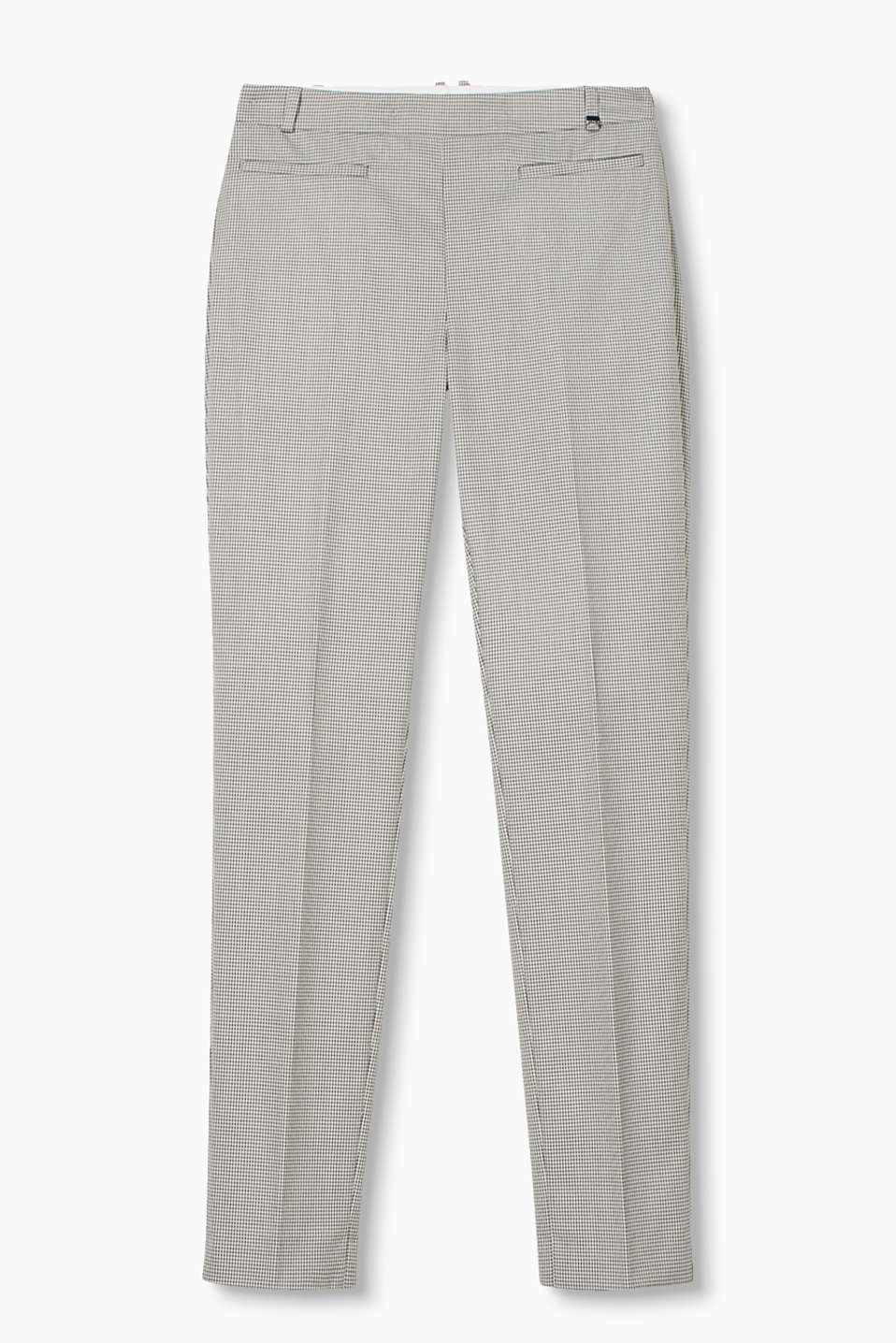 Stretchy twill trousers in a polyester/viscose blend with welt pockets and a side zip
