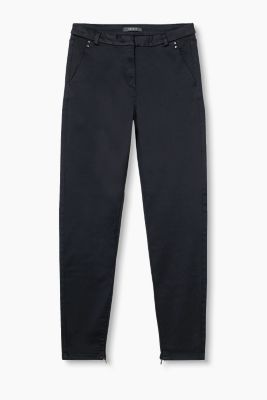 Smooth satin twill trousers with stretch