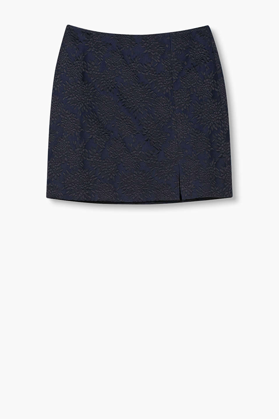 Elegant mini skirt in non-stretch jacquard (polyester/cotton) with a shimmering floral pattern