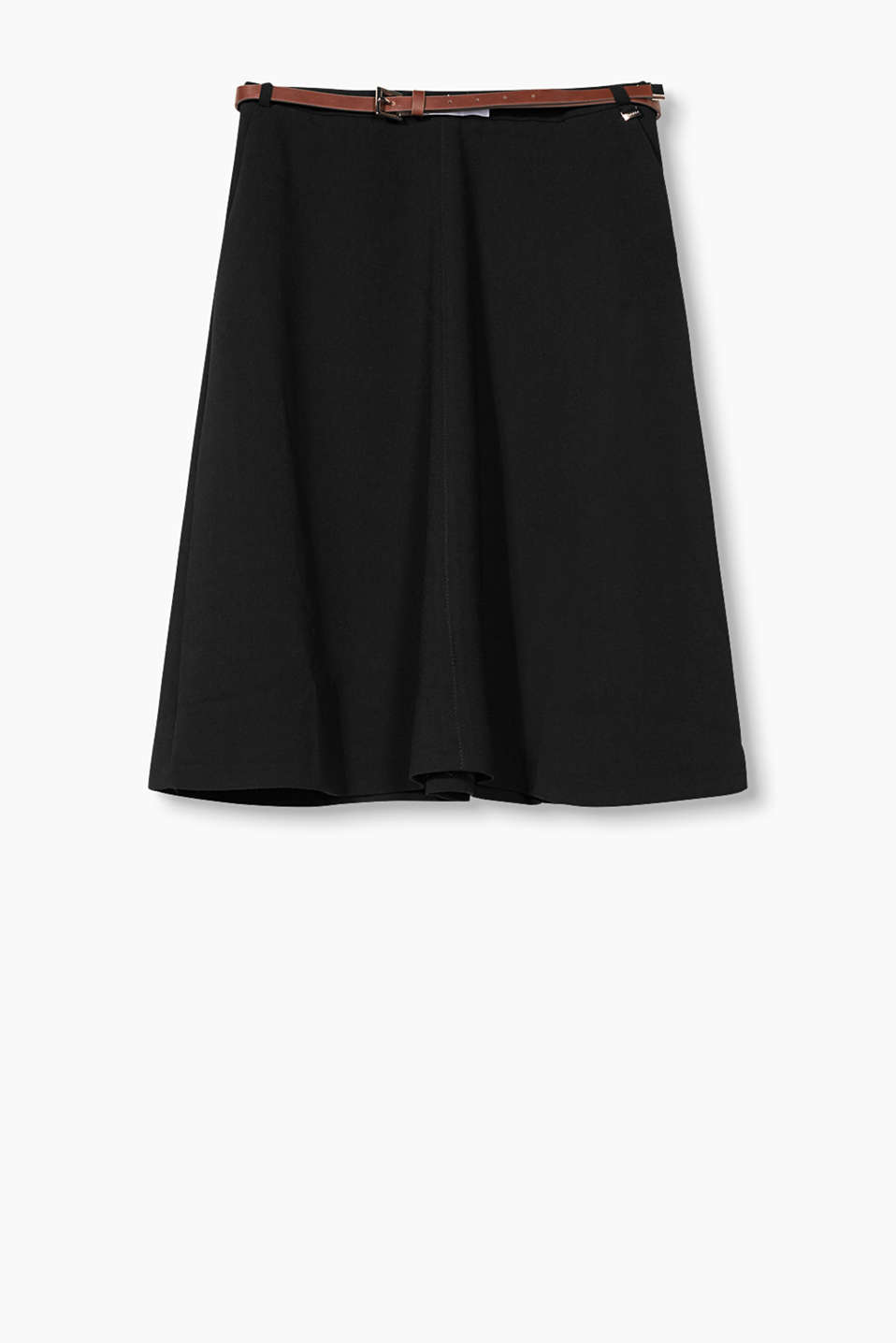 Swinging A-line skirt made of stretchy crepe with side pockets and an imitation leather belt