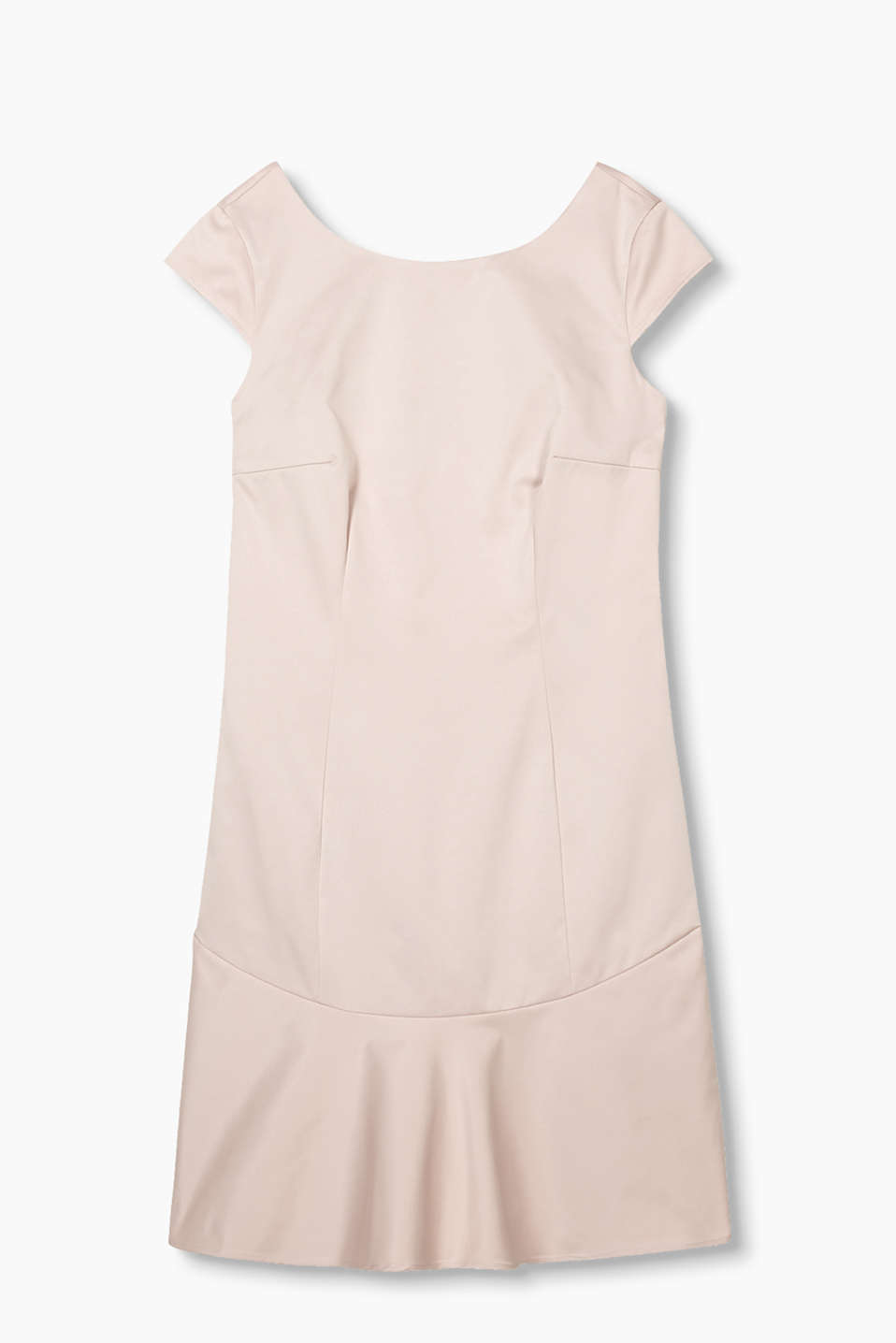 Shiny shift dress in ribbed, firm cloth with a flounce hem