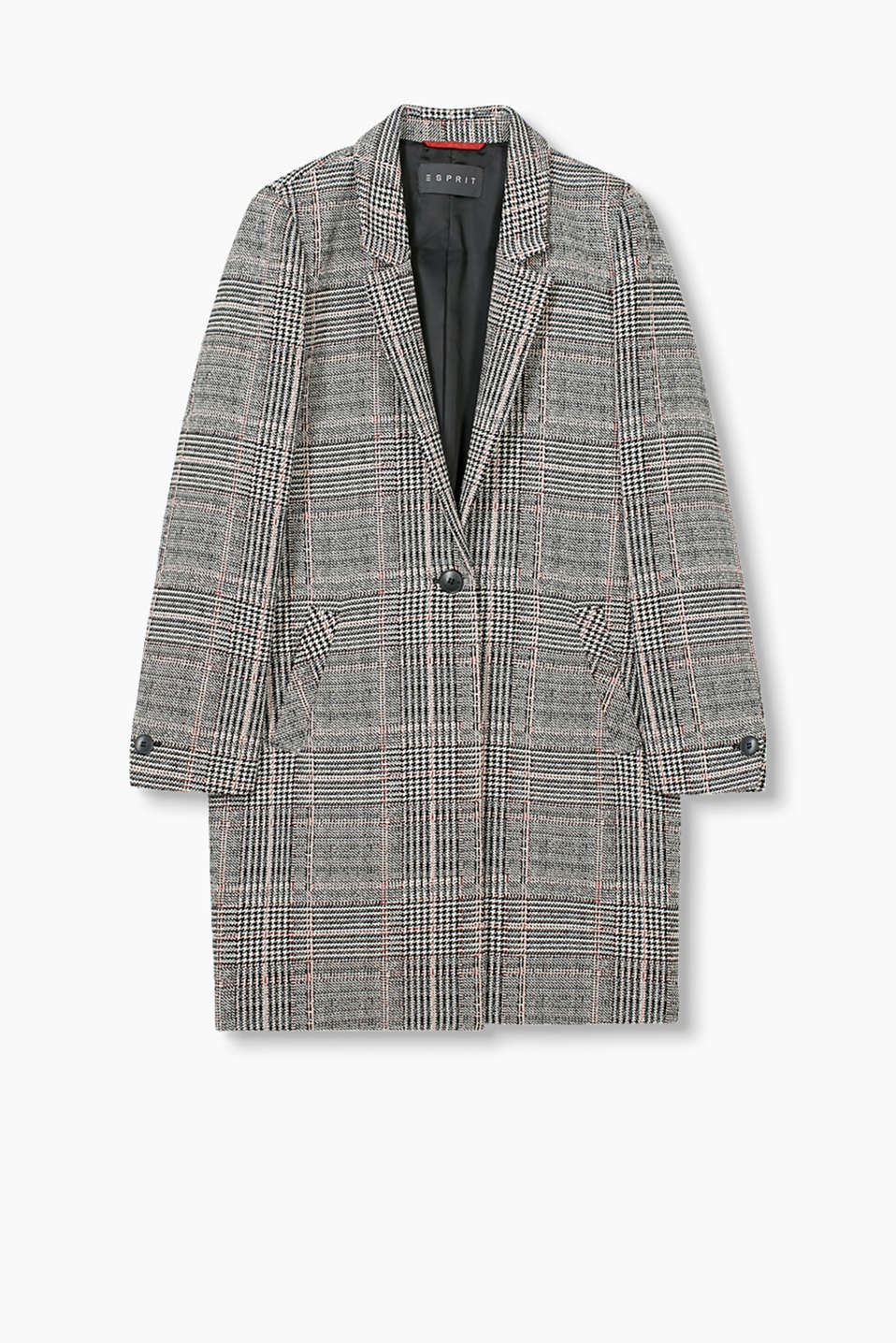 One-button blazer coat in robust cotton fabric with a check pattern