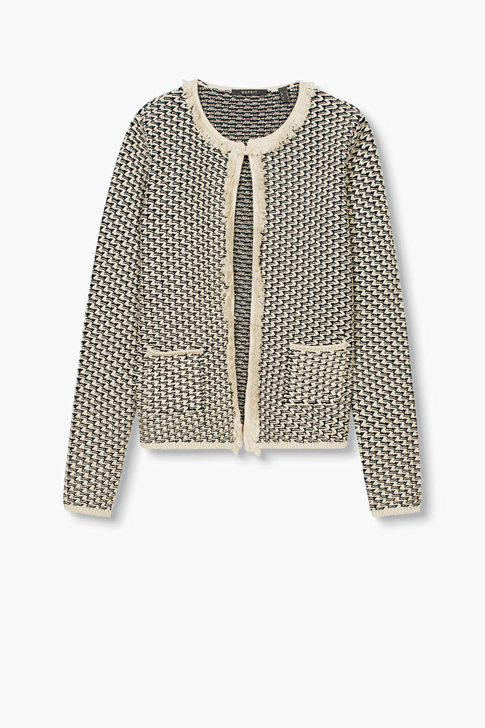 Chunky-knit cardigan with a textured, zigzag pattern and statement fringing, made of blended cotton