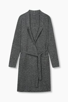 Two-tone tie-around knit coat + lapel