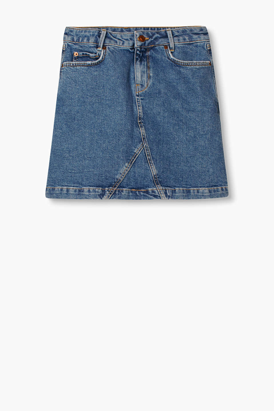 Mini skirt in garment-washed cotton denim with added stretch for comfort