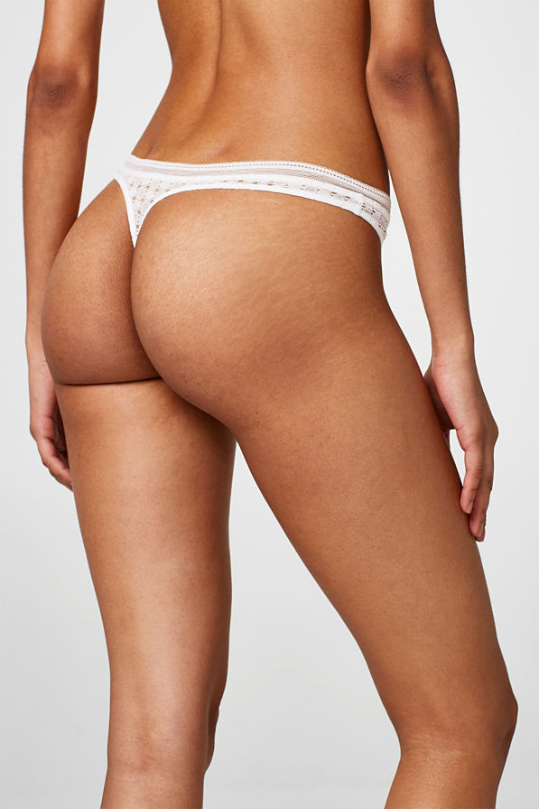 Esprit - String taille basse NYE, broderie anglaise - 3