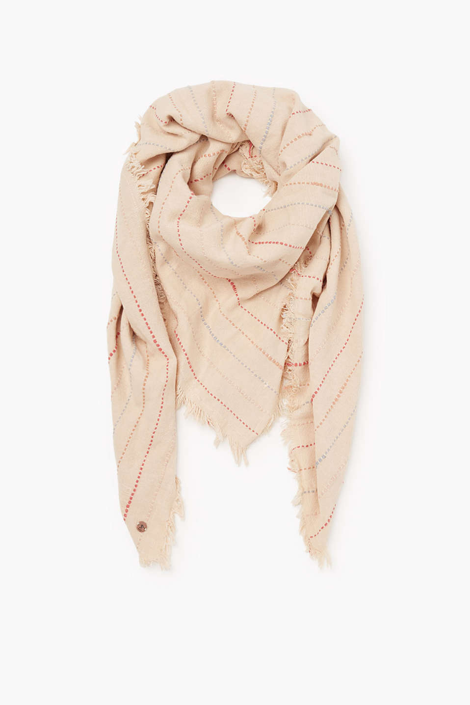 Ethnic mix, oversized woven scarf with colourful embroidered details