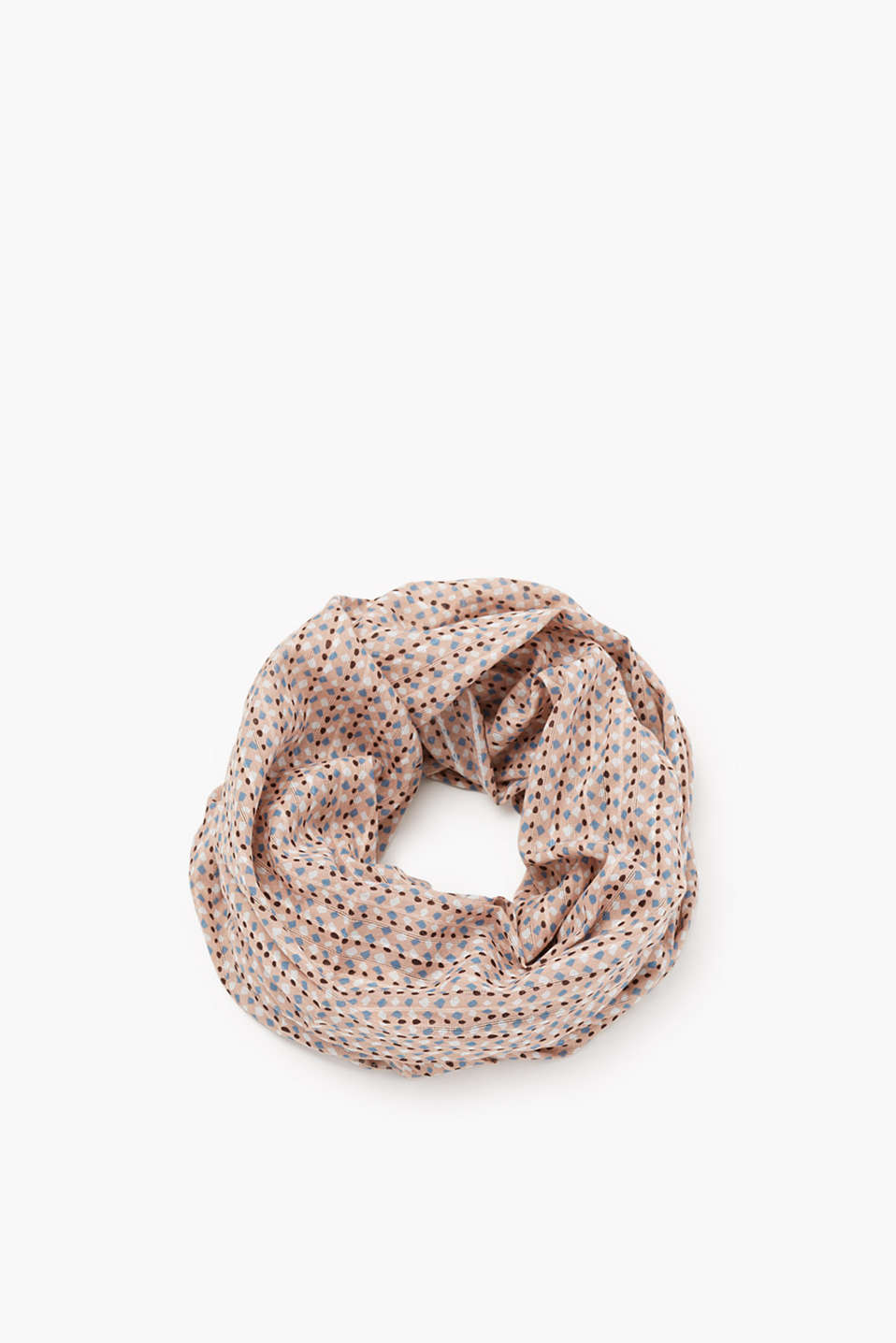 Pure cotton snood with a large polka dot print and fine woven texture