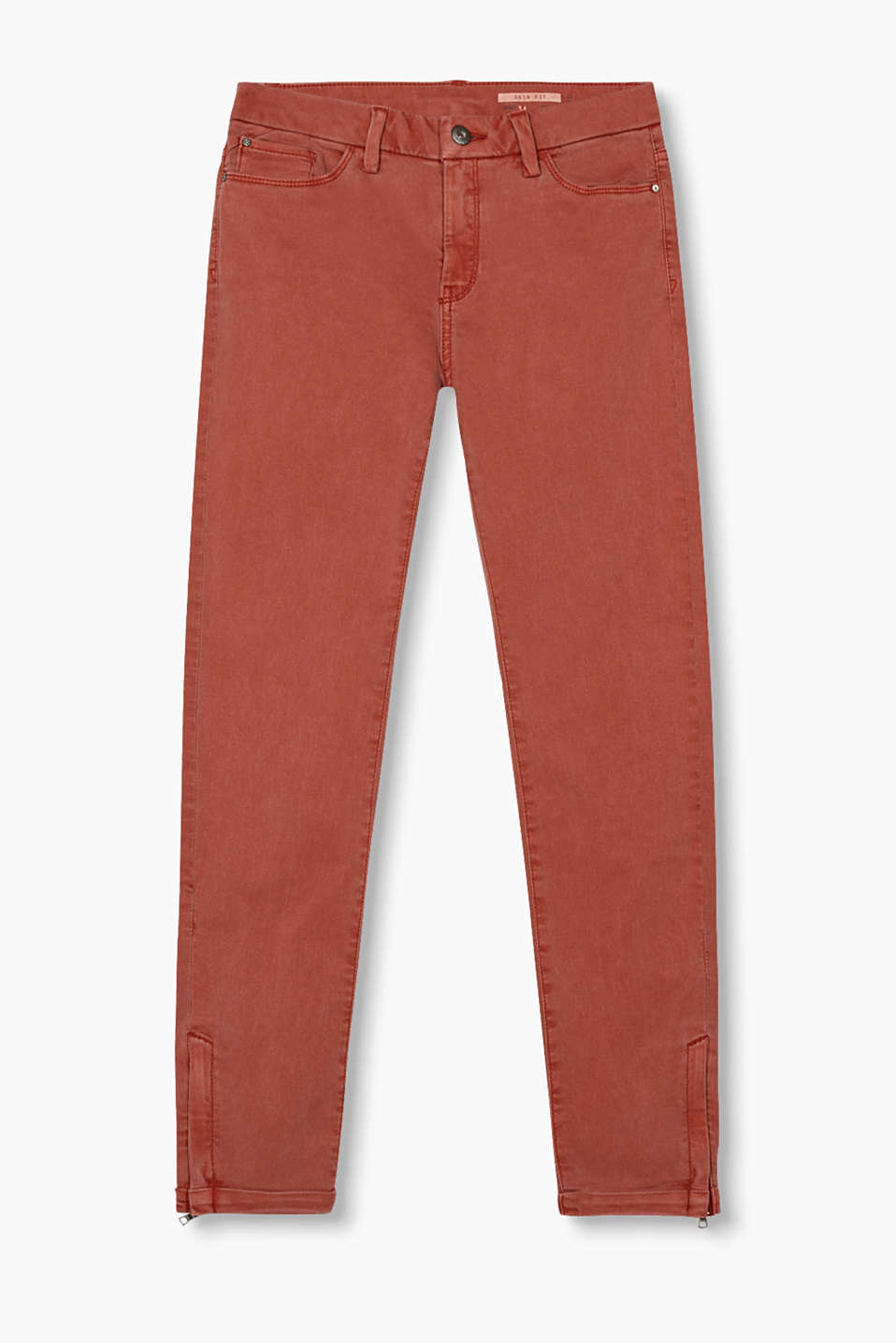 Casually overdyed five-pocket jeans in stretch cotton with zip details on the leg ends