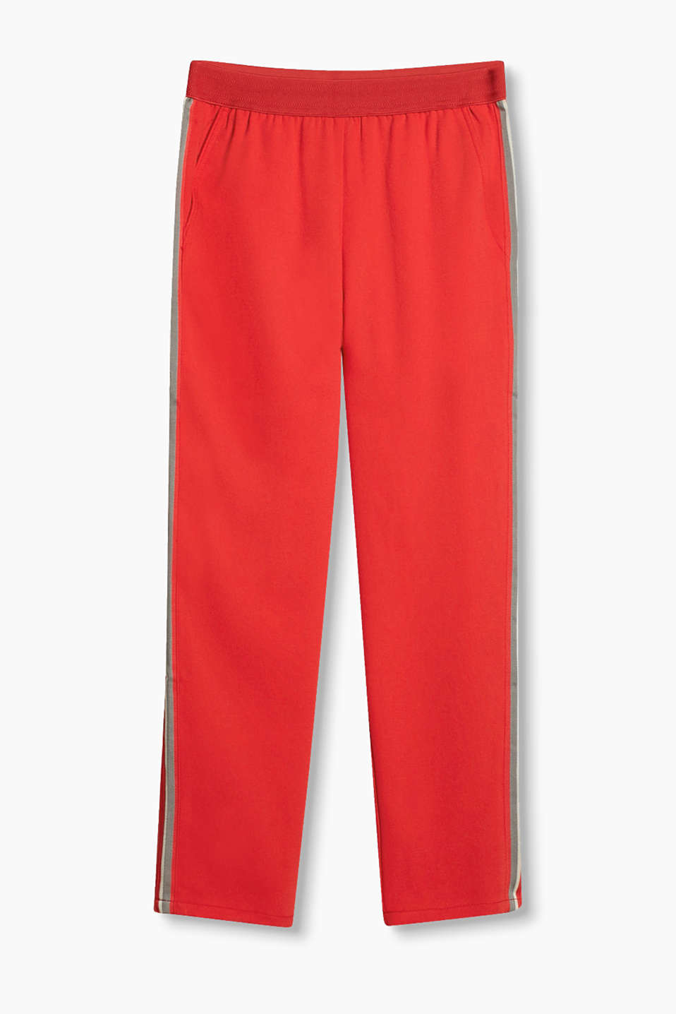 Sporty crêpe trousers with a striped look on the outer seam