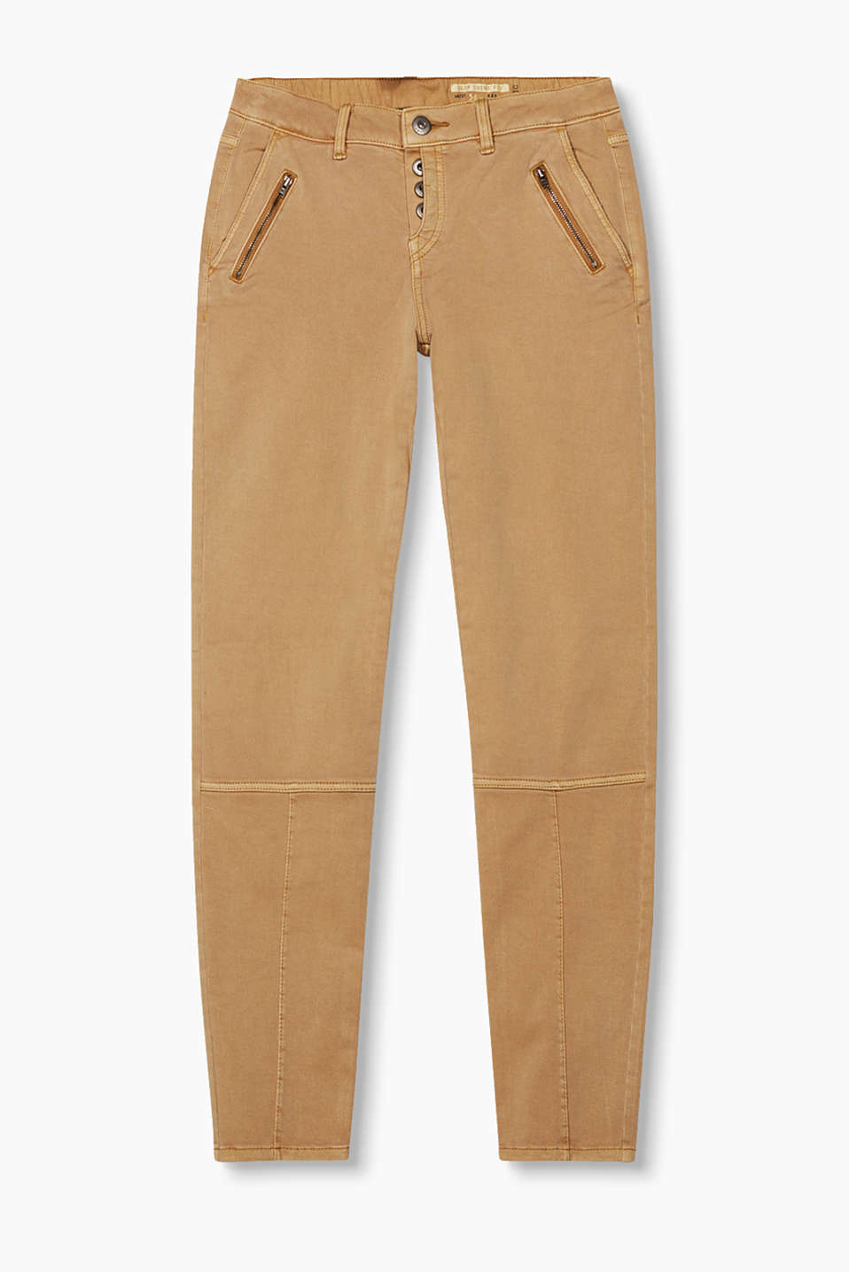 Casual garment-washed chinos in soft blended cotton with darts, zip details and a half-visible button placket