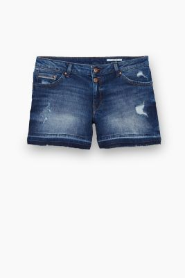 Destroyed denim short met stretch