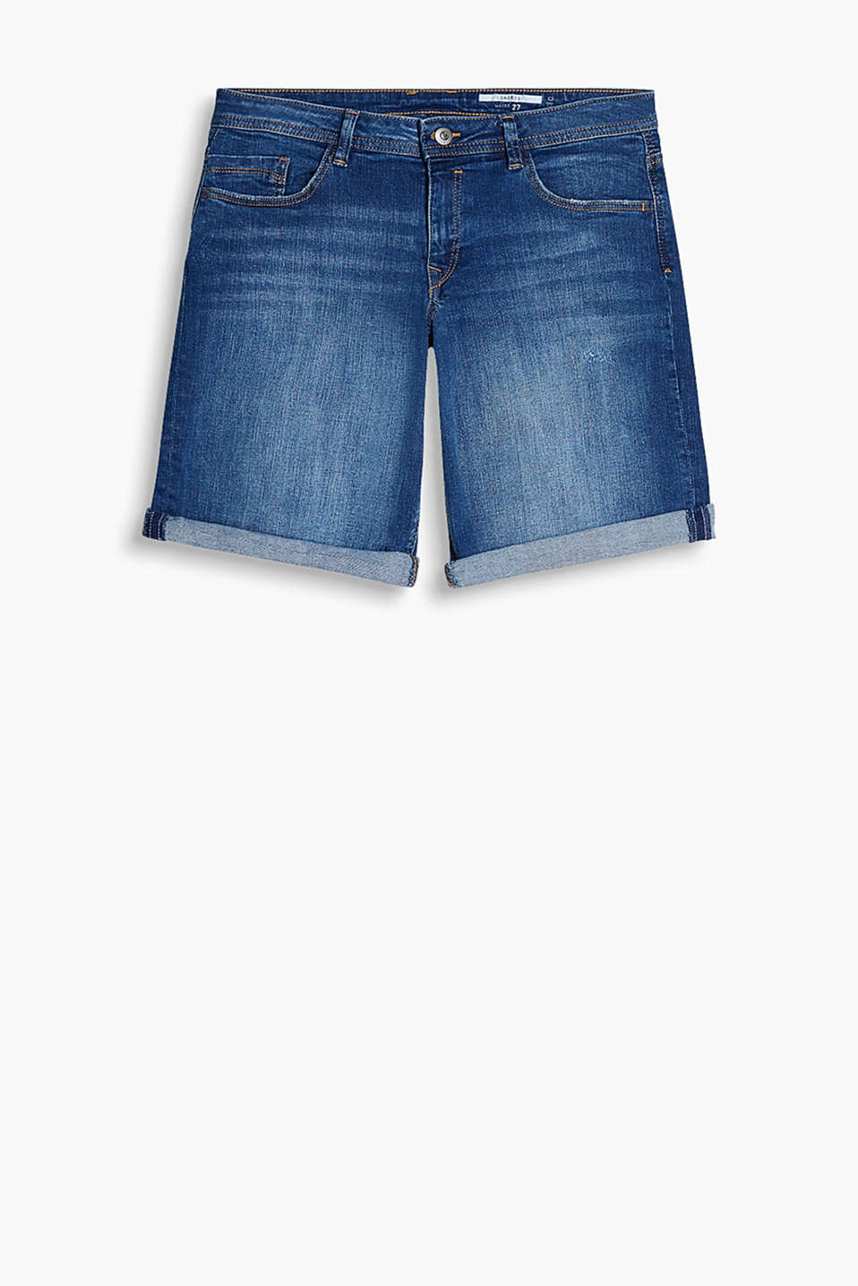 Denim Bermudas with distressed effects and stretch for comfort
