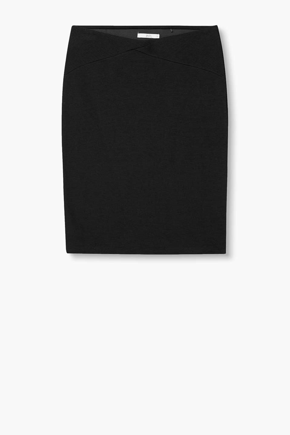 Cotton jersey pencil skirt with a horizontal ribbed texture
