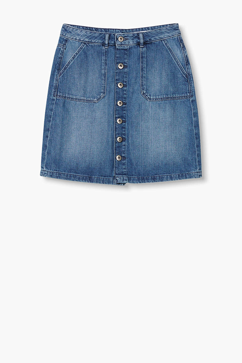 Button-fastening denim skirt with patch pockets and casual washed-out effects.