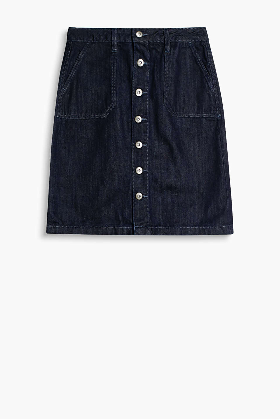 Dark blue denim skirt with button placket and patch pockets