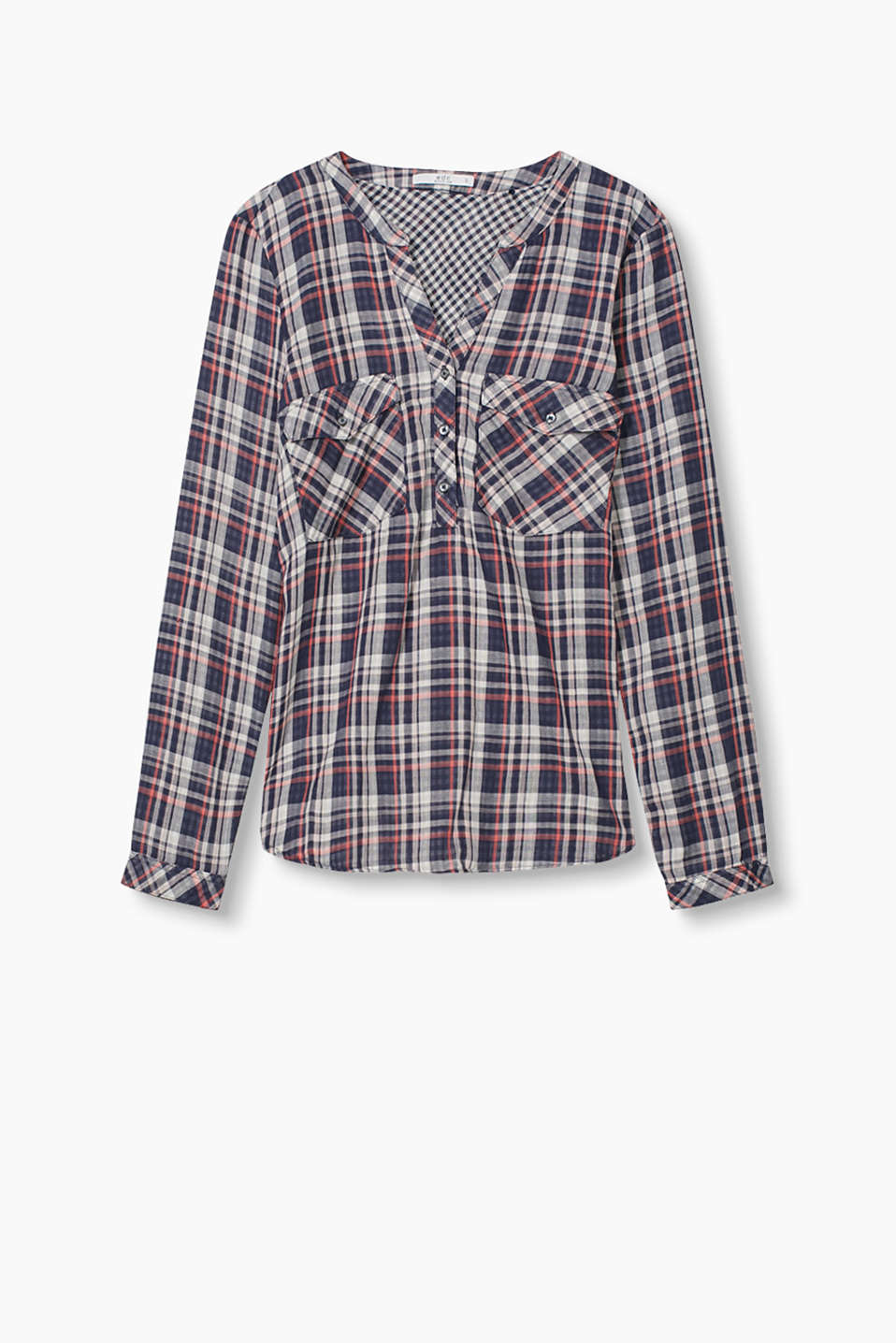 Soft, double face blouse with two different check patterns