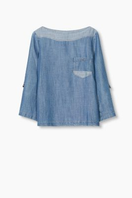Fließende 2-Tone Denim-Bluse