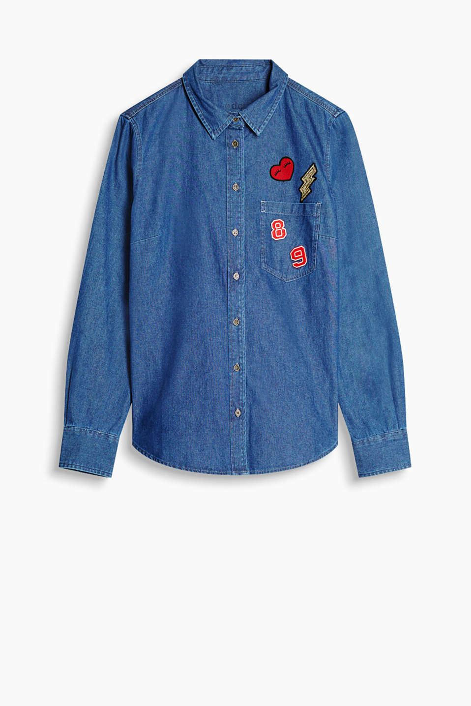 We love patches! Shirt blouse made of soft cotton denim in an unembellished, indigo wash