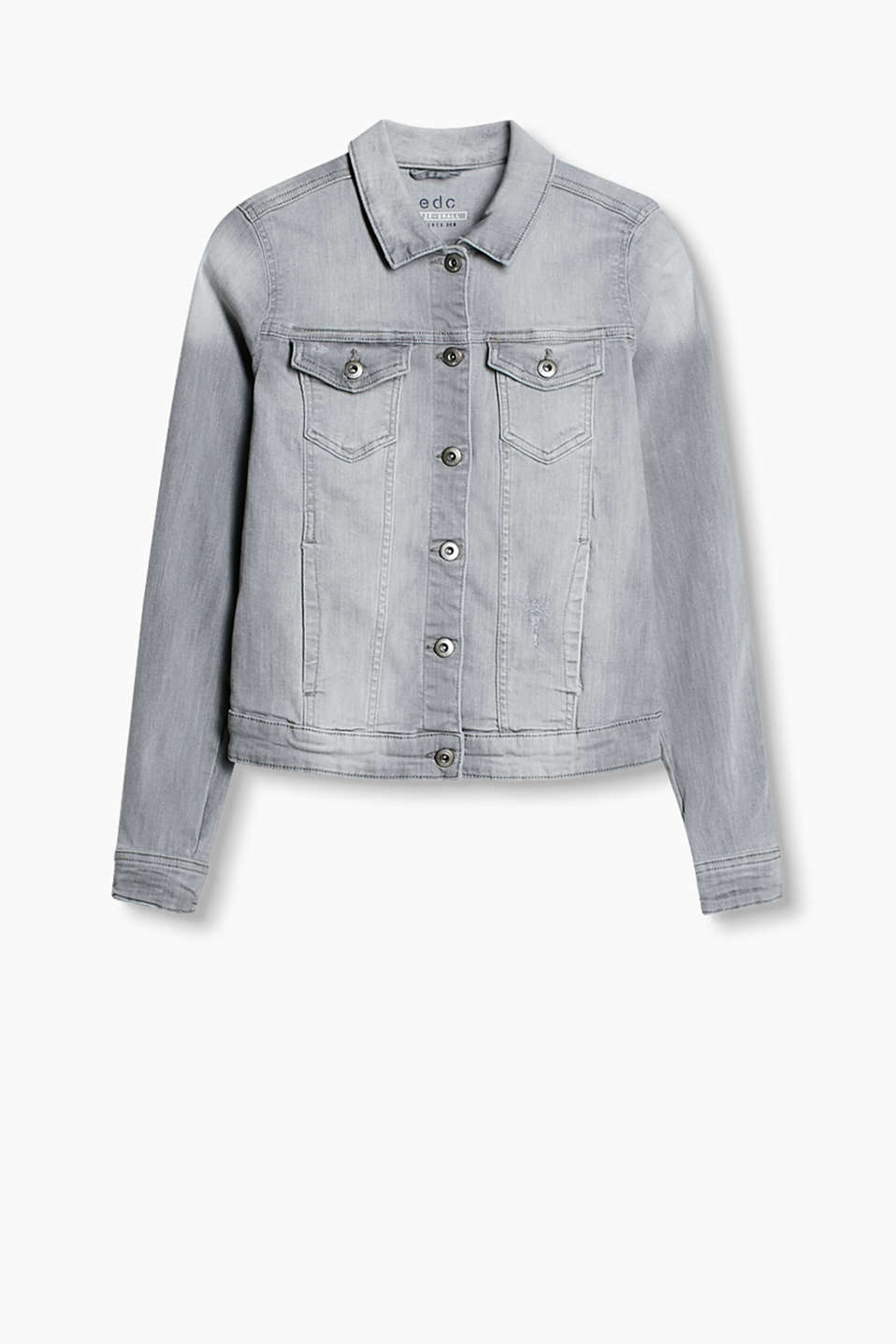 Cool klassiker: feminint figursyet jeansjakke af distressed stretch-denim.