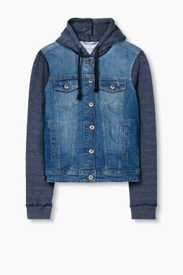 Stretch-Denim-Jacke im Material-Mix