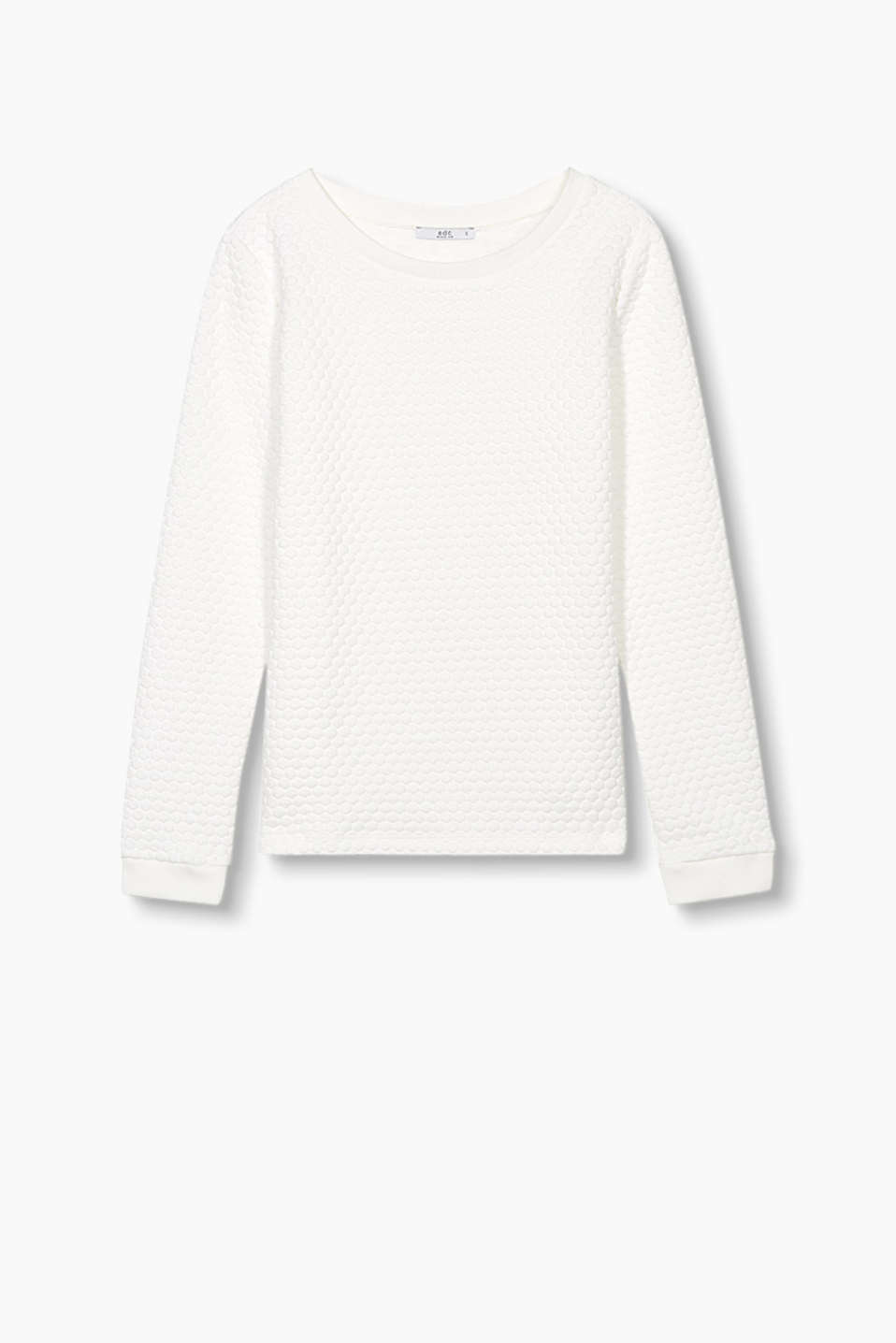 Sweatshirt in stretchy blended cotton with a 3-D texture