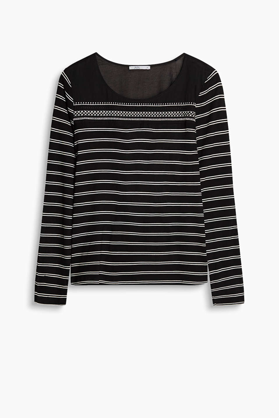 Classic stripes done differently: This flowing long sleeve top with an embroidered fabric yoke