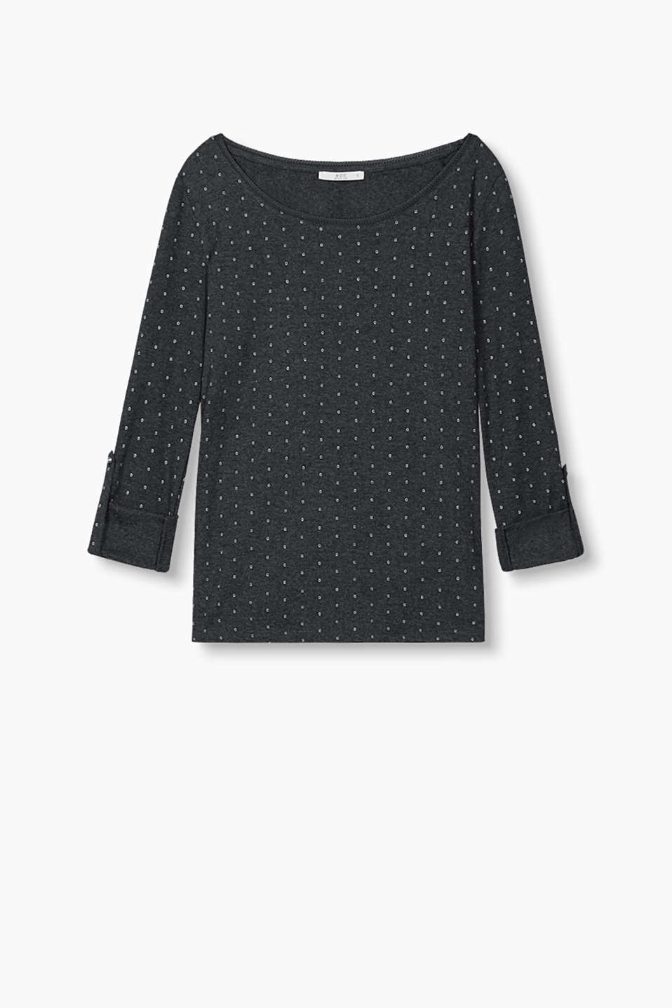 Long sleeve top with a charming print, turn-up sleeves and a border along the neckline