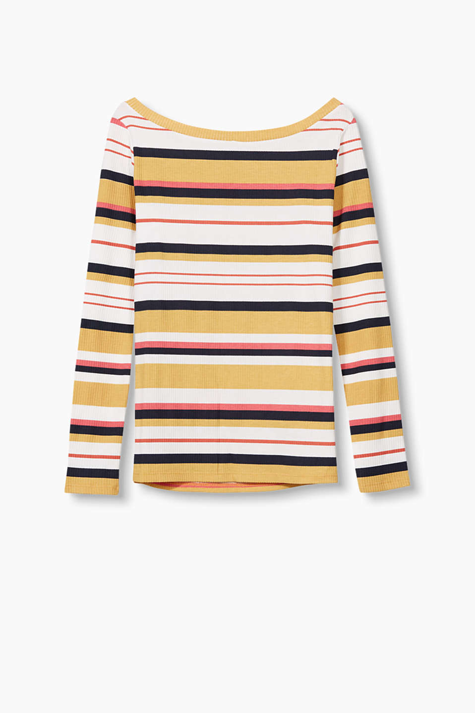 Trendy striped long sleeve top in elasticated ribbed jersey with a wide round neckline