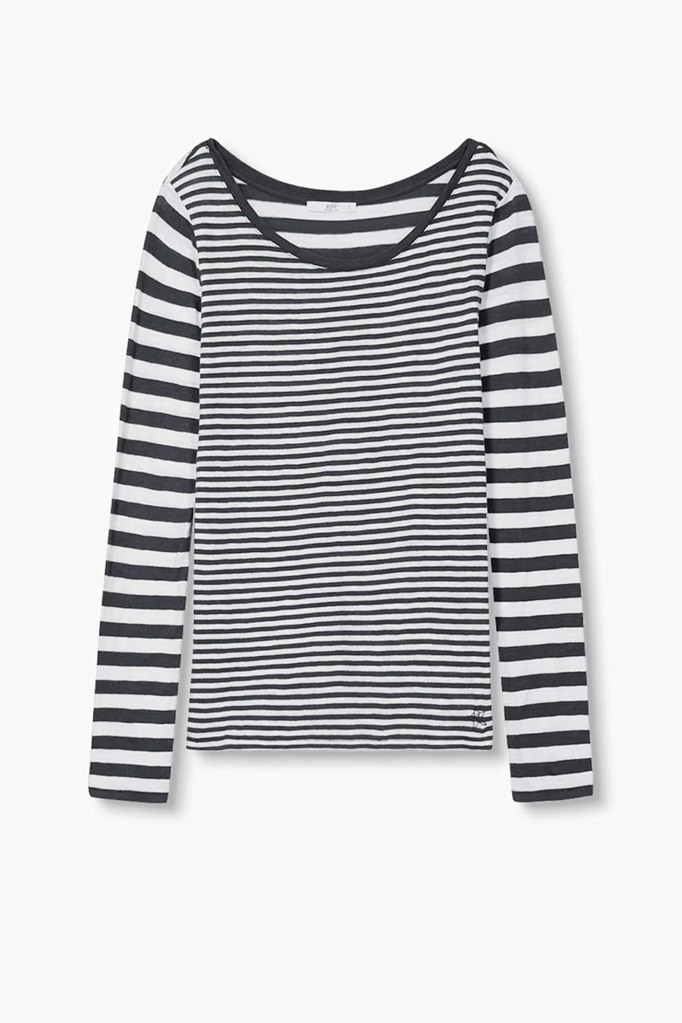 Soft long sleeve cotton top in a fashionable mixed stripe design