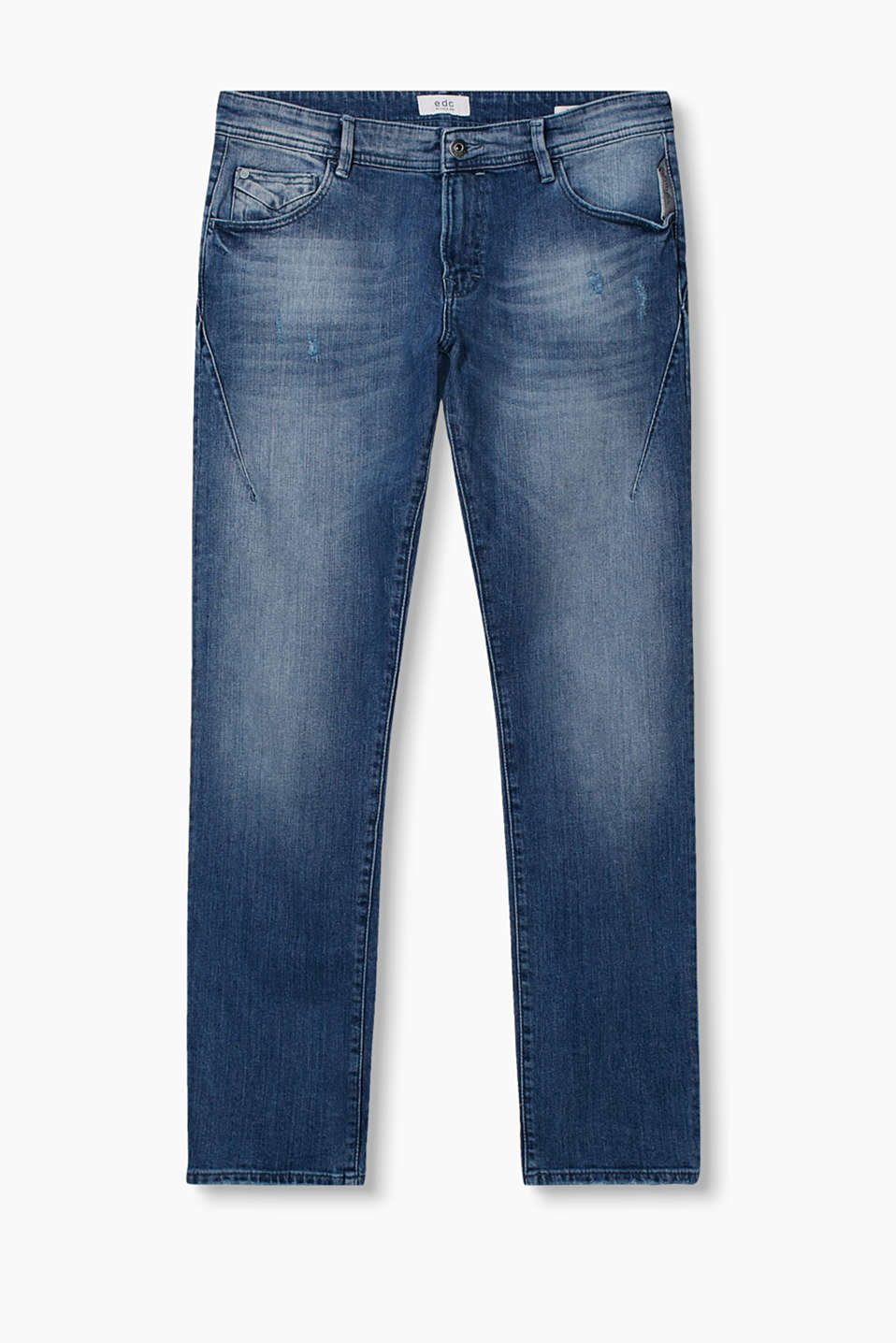 Stone-washed five-pocket jeans in blended cotton, with vintage effects