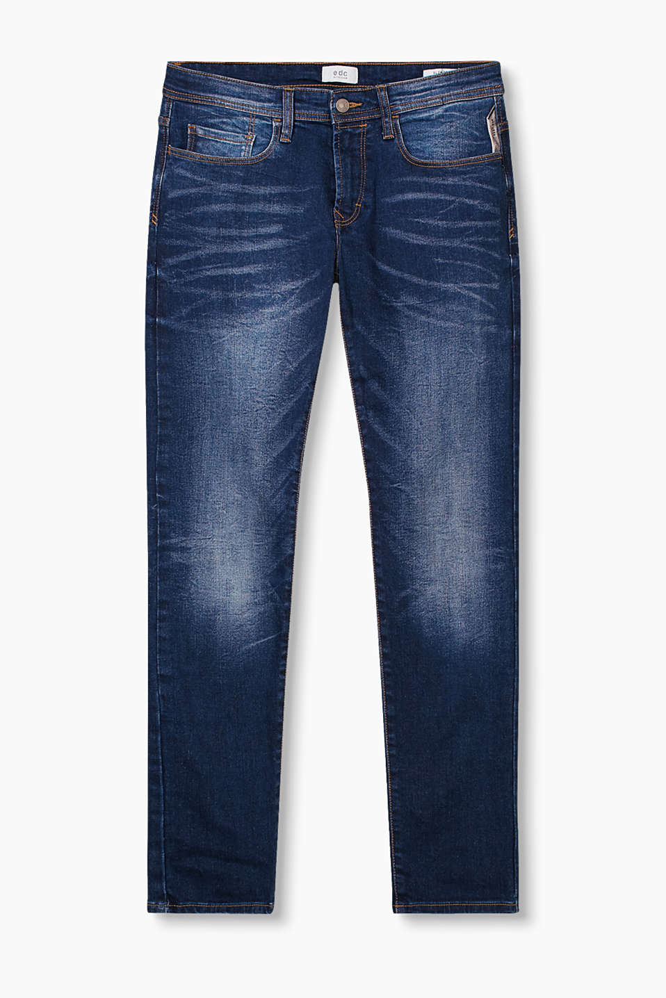 Basic 5 pocket jeans made of firm denim with dark, washed-effect areas and a zip fly