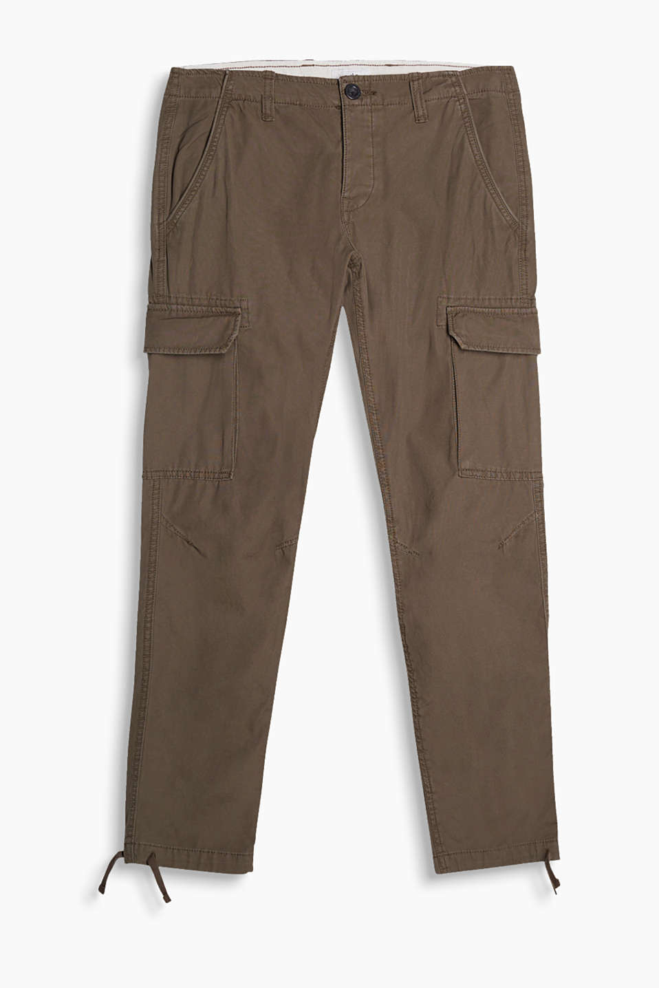 Casual cargo trousers with bellows pockets and a garment-washed finish