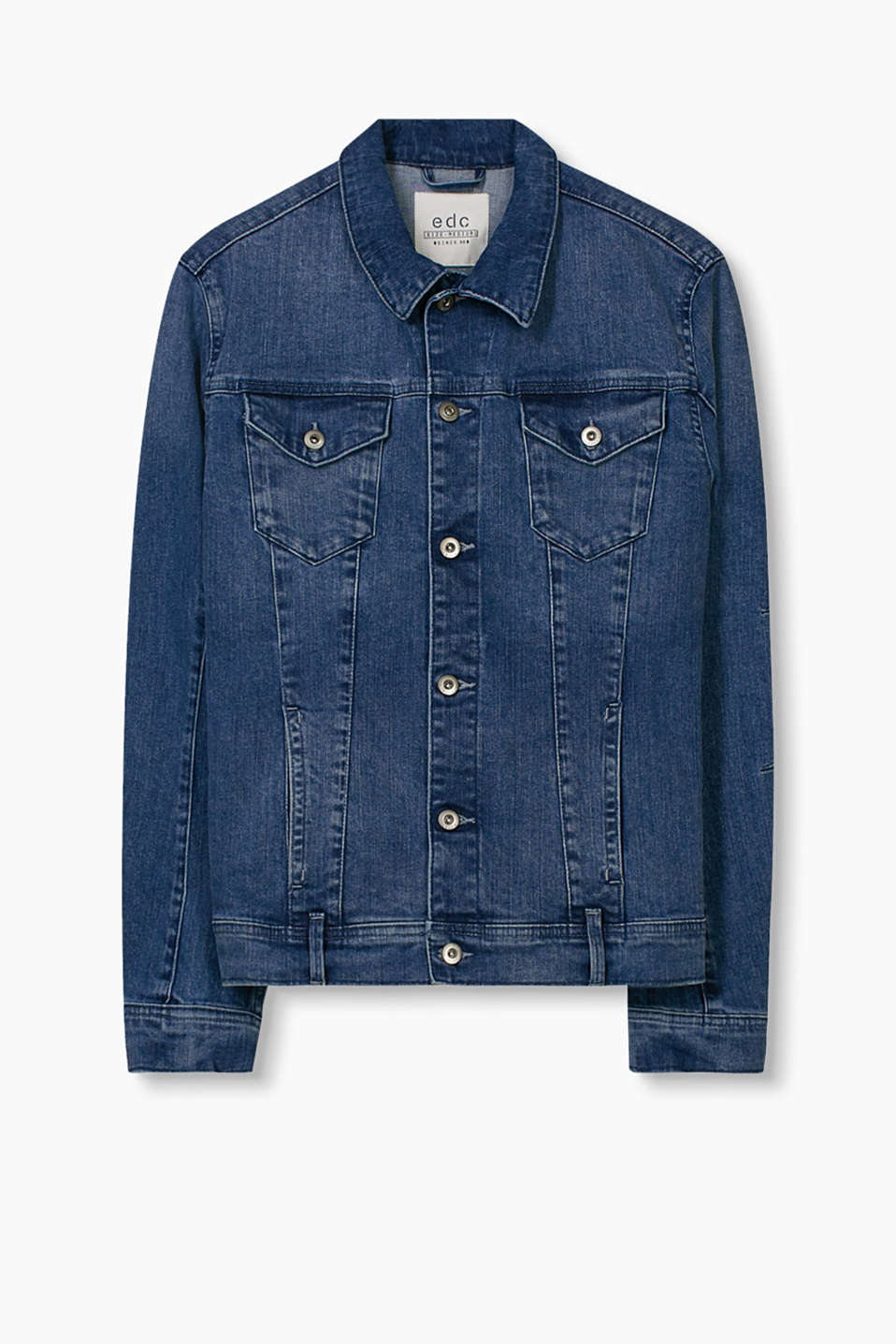 Authentic denim jacket with breast pockets and a subtle garment-washed effect