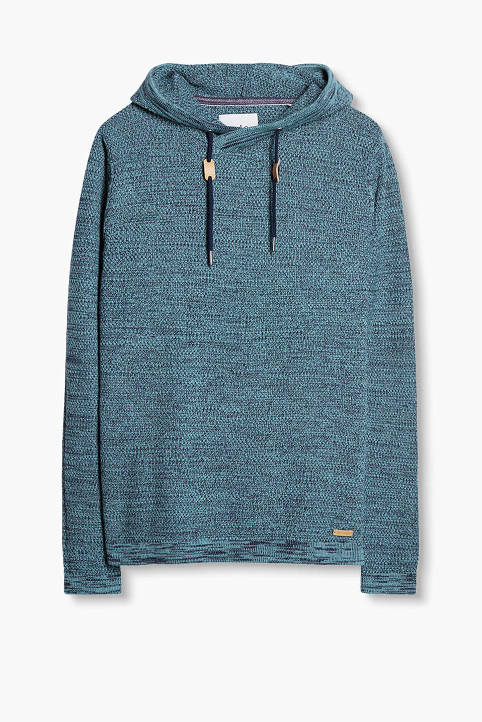 Textured knit hoodie in 100% cotton