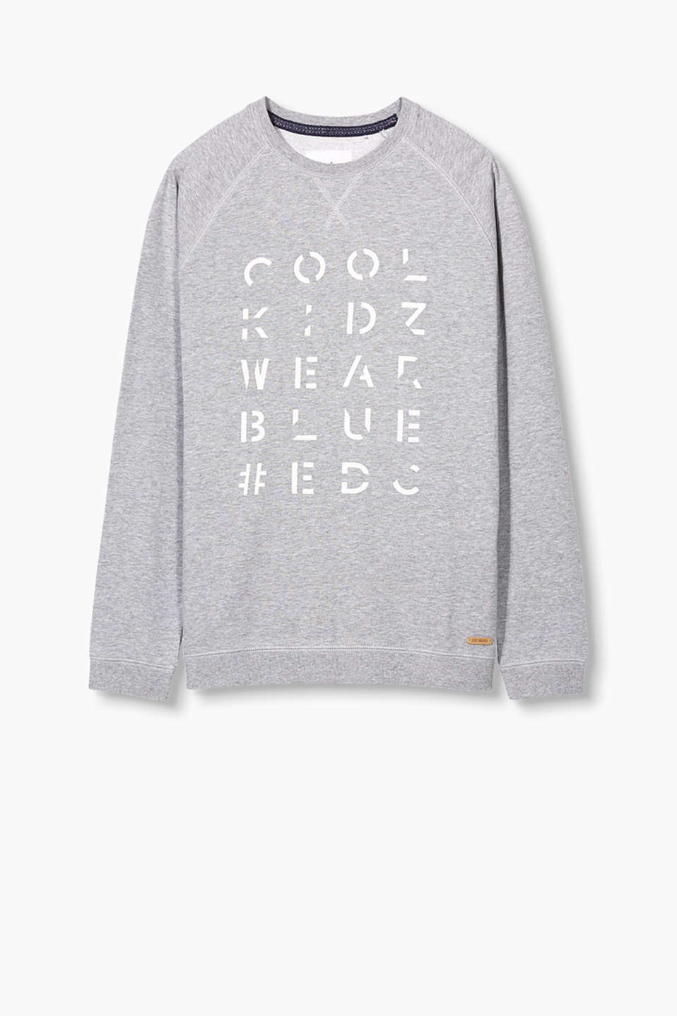 Slub-effect sweatshirt with a printed statement