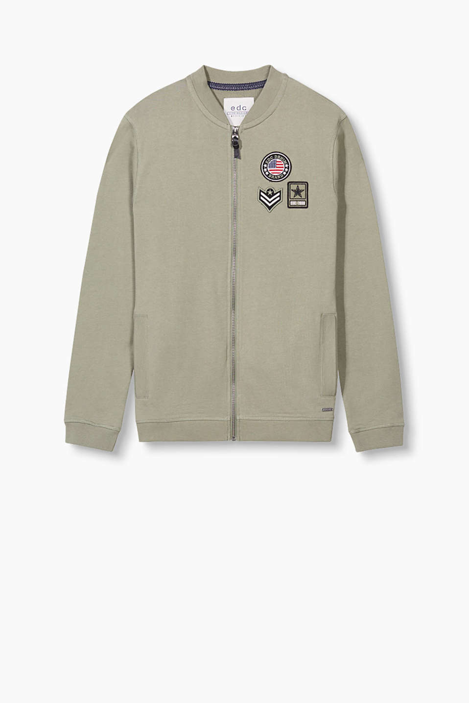 Casual military style: sweatshirt jacket in a bomber style made from pure cotton