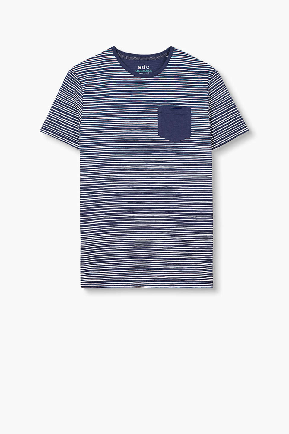 Cotton T-shirt with painted stripes and a breast pocket
