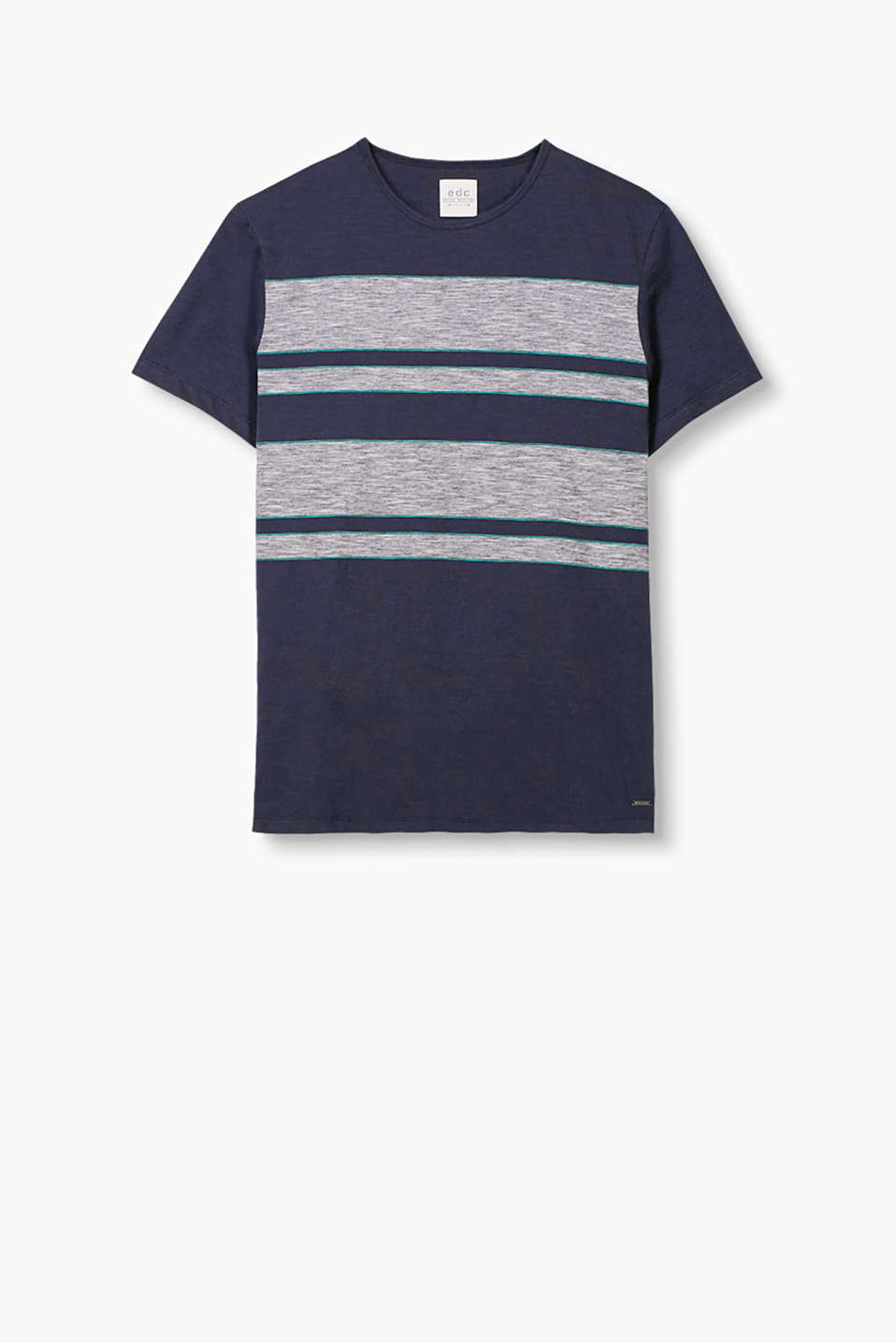 T-shirt with different wide stripes, with a round neckline in 100% cotton
