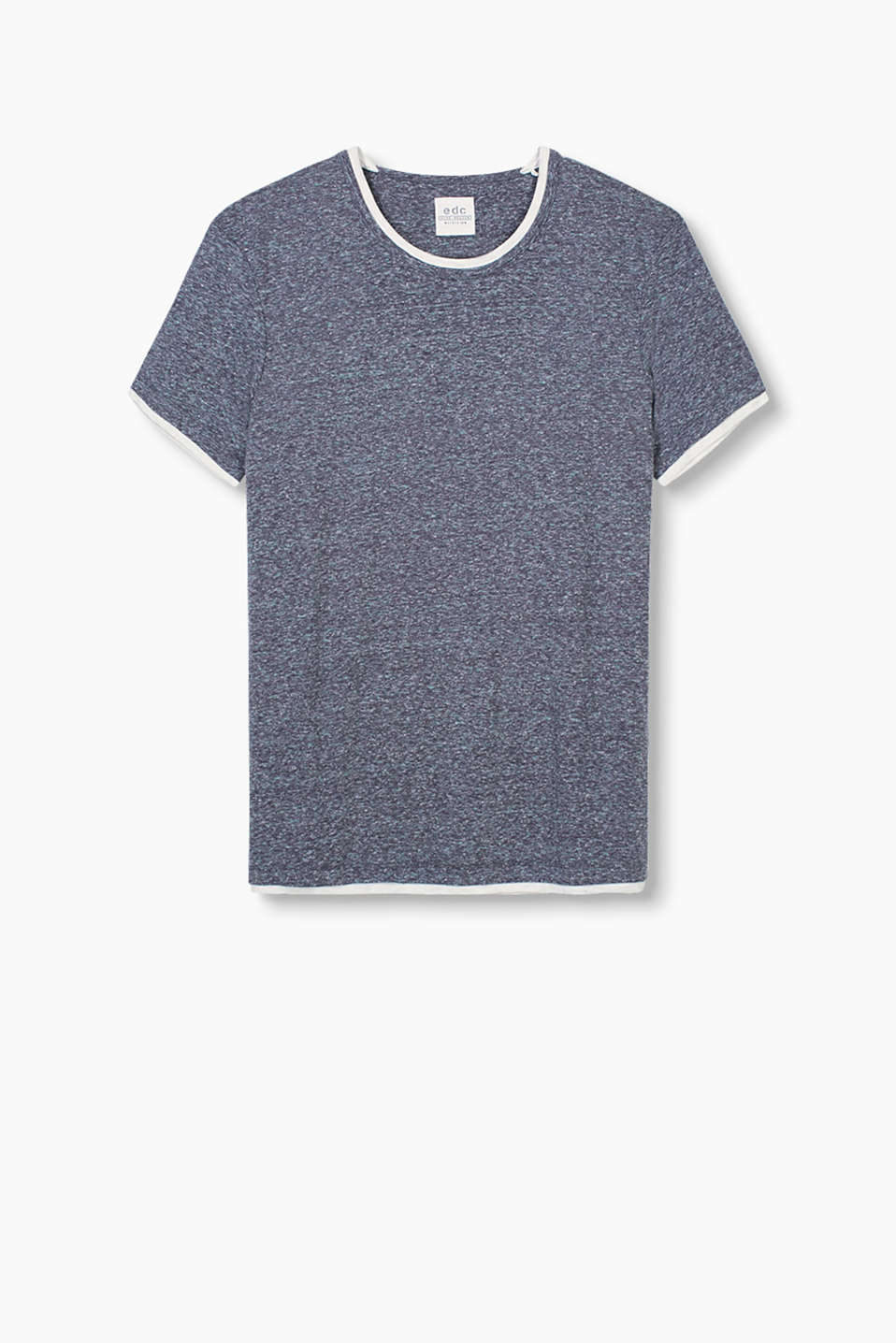 Melange T-shirt made of 100% cotton in a 2-in-1 design