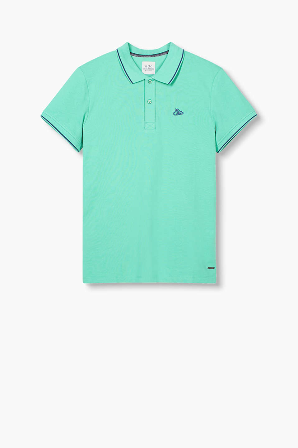 Smart and sporty cotton polo shirt in piqué fabric with an accent edge and an edc logo