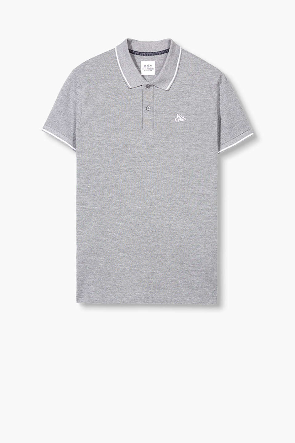 Smart, sporty polo shirt in cotton piqué with EDC embroidery