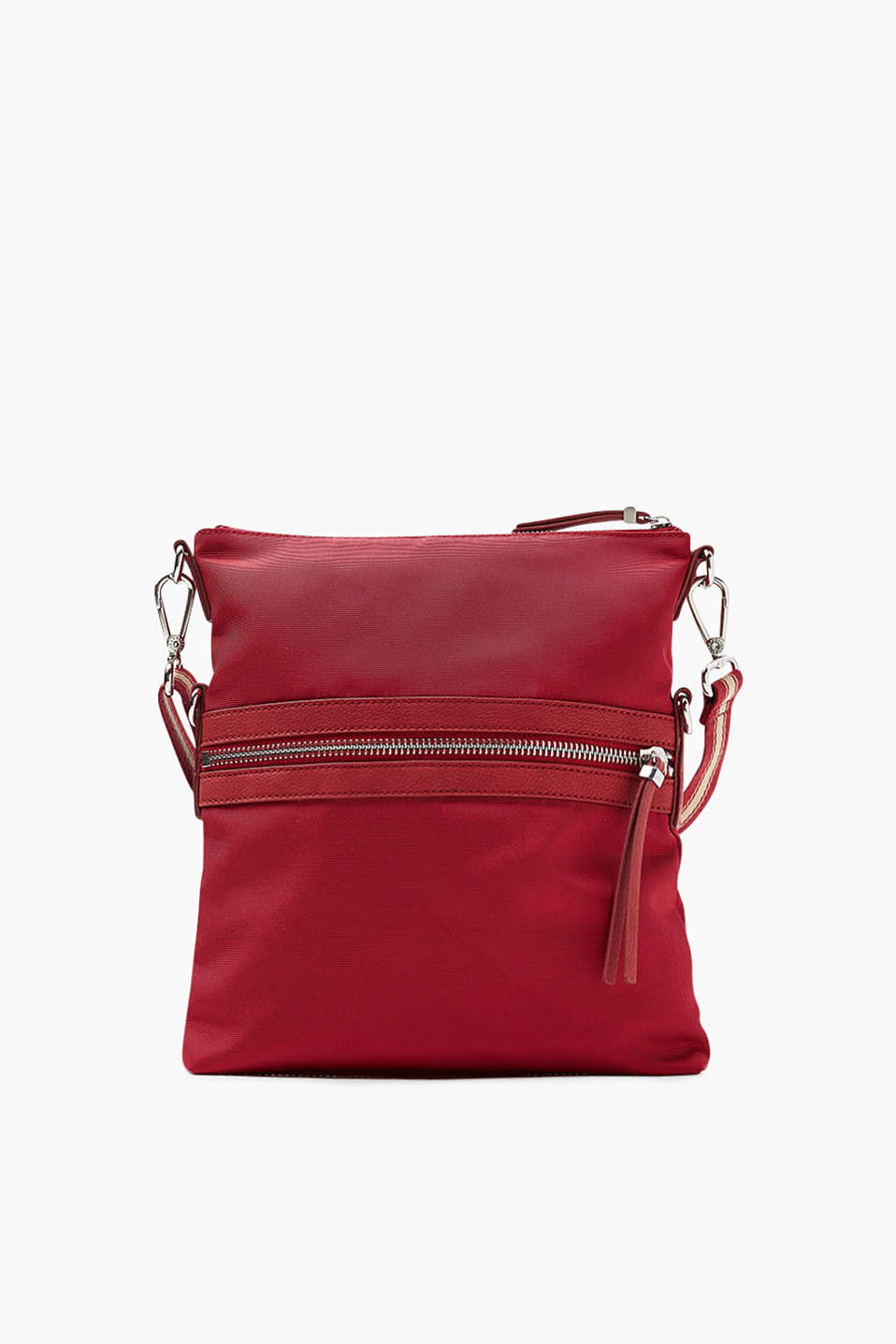 Soft shoulder bag with a grainy woven texture, adjustable in height