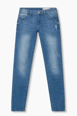 Kräftige Stretch-Denim mit Used-Effekten