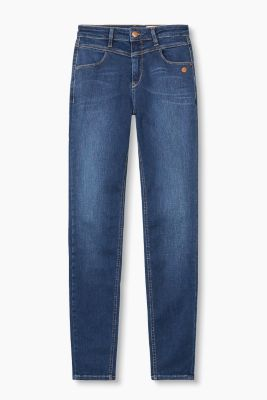 Blue denim jeans with shaping effect