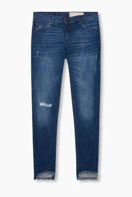 Stretch-Denim mit High-Low-Säumen