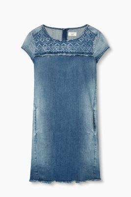 Besticktes Kleid aus Stretch-Denim
