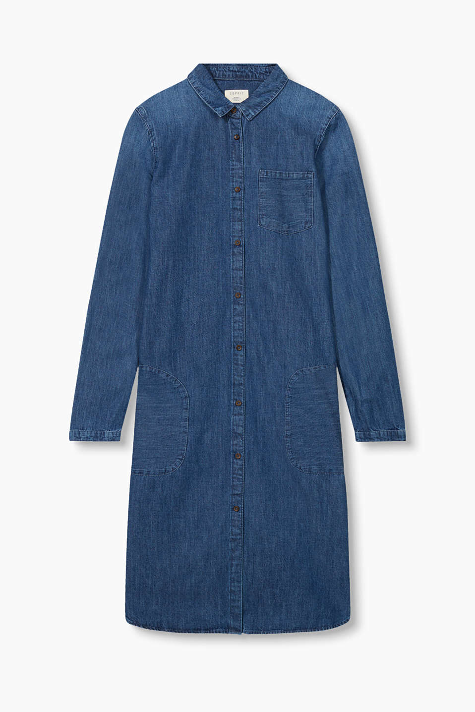 We love denim on denim: slightly flared dress with patch pockets