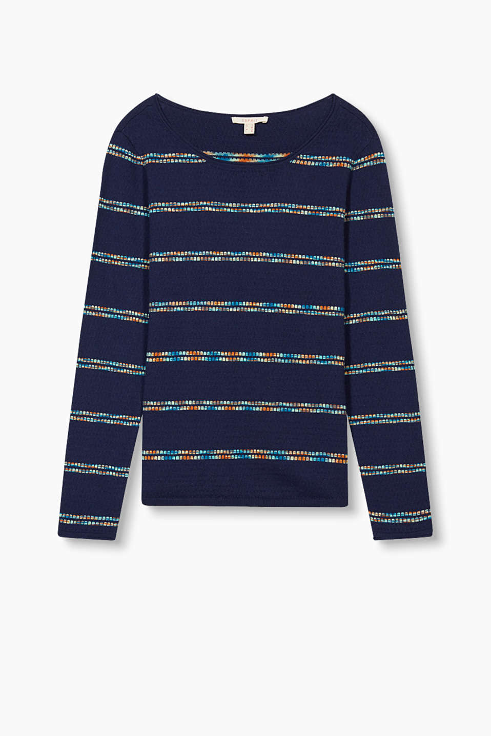 with knitted multi-coloured stripes