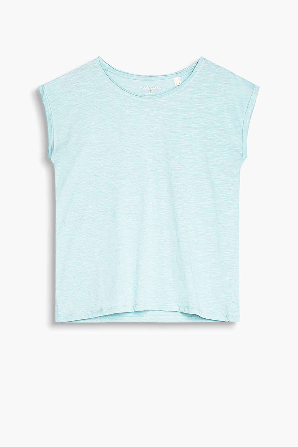 Airy T-shirt with a wide, round neckline